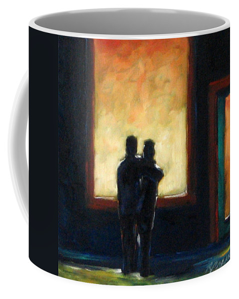 Town Coffee Mug featuring the painting Looking In Looking Out Mini by Richard T Pranke