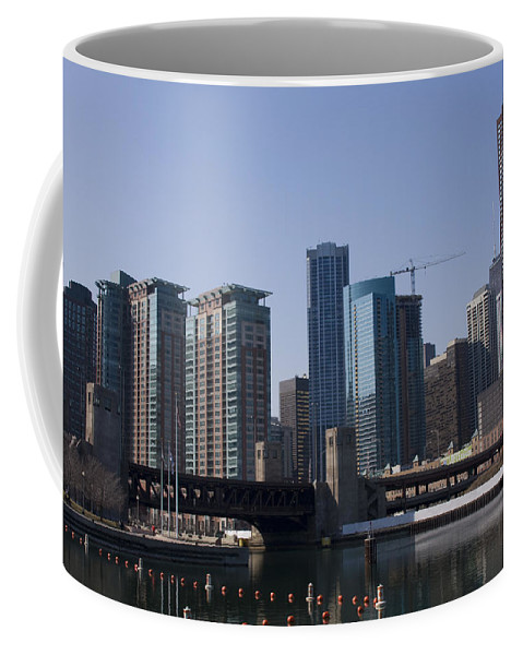 Chicago Windy City Building Tall High Big Skyscraper Water River Lake Michigan Blue Sky Metro Urban Coffee Mug featuring the photograph Looking Into The City by Andrei Shliakhau