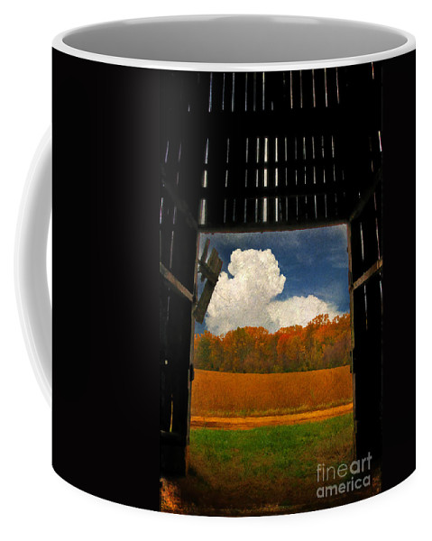 Farm Coffee Mug featuring the photograph Looking Out by Lois Bryan