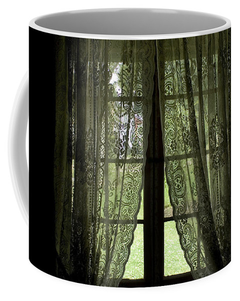 Windows Coffee Mug featuring the photograph Looking Out The Window Of A Log Cabin by Todd Gipstein
