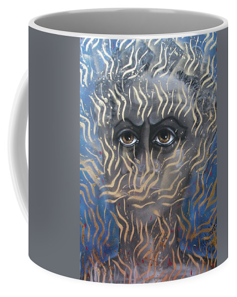 Man Coffee Mug featuring the painting Looking Through Fire by Joan Stratton