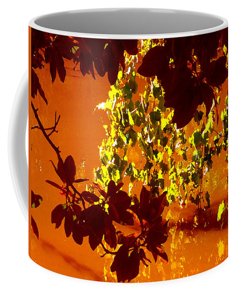 Landscapes Coffee Mug featuring the painting Looking Through Leaves Into Pond by Amy Vangsgard