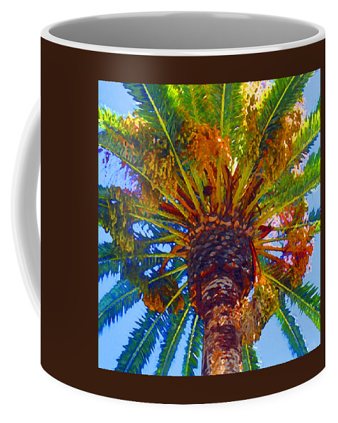 Garden Coffee Mug featuring the painting Looking Up At Palm Tree by Amy Vangsgard