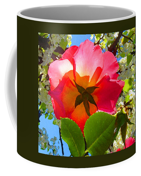Roses Coffee Mug featuring the photograph Looking Up At Rose And Tree by Amy Vangsgard