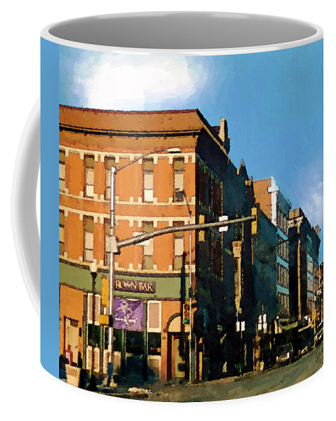 Buildings Coffee Mug featuring the painting Looking Up Main Street by RC DeWinter