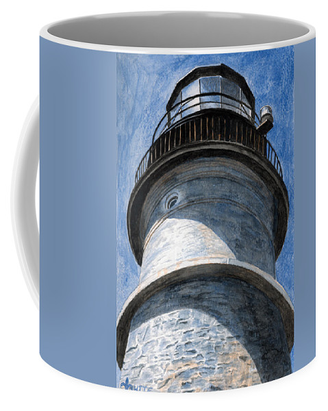 Lighthouse Coffee Mug featuring the painting Looking Up Portland Head Light by Dominic White