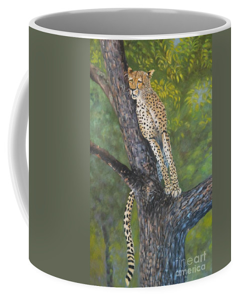 Cheetah Coffee Mug featuring the painting Lookout by Caroline Street