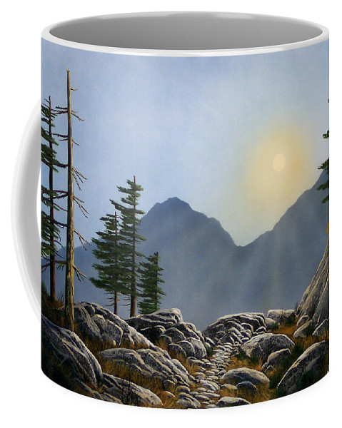 Landscape Coffee Mug featuring the painting Lookout Rock by Frank Wilson
