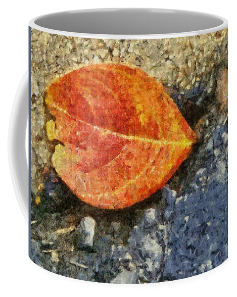 Asphalt Coffee Mug featuring the painting Loose Leaf by Jeffrey Kolker