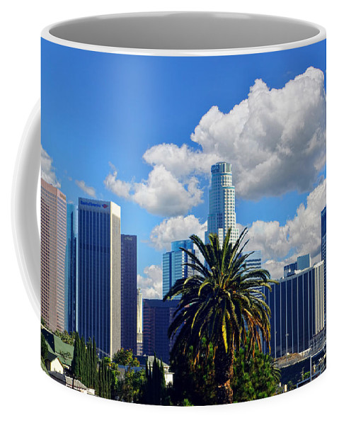 Los Angeles Coffee Mug featuring the photograph Los Angeles And Palm Trees by Mariola Bitner