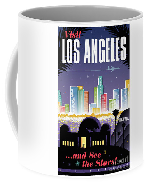 Pop Art Coffee Mug featuring the digital art Los Angeles Poster - Retro Travel by Jim Zahniser