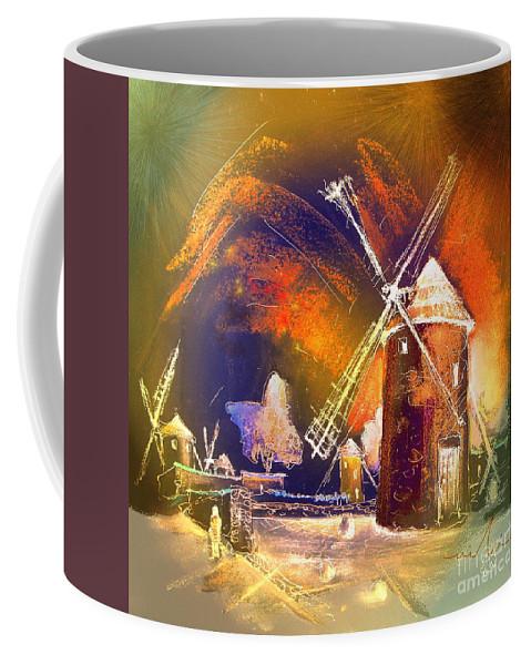Coffee Mug featuring the painting Los Molinos Del Quijote 01 by Miki De Goodaboom