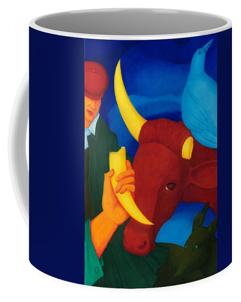 Surreal Coffee Mug featuring the painting Lost Power. by Andrzej Pietal