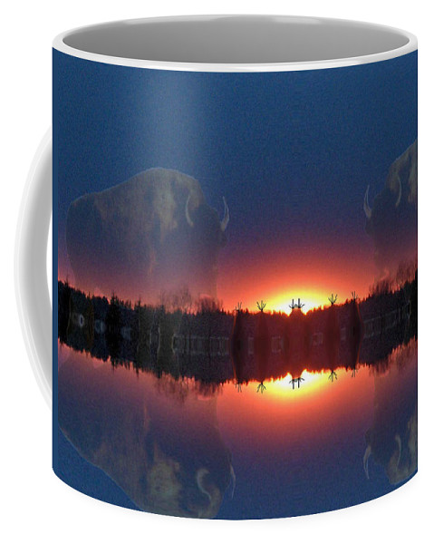 Tee Pee Native Buffalo Bison Lake Water Trees Forest Nature Reflection Lost World Coffee Mug featuring the photograph Lost World Reflections by Andrea Lawrence
