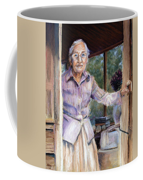 Portrait Coffee Mug featuring the pastel Lottie The Faithful Servant by Susan Jenkins