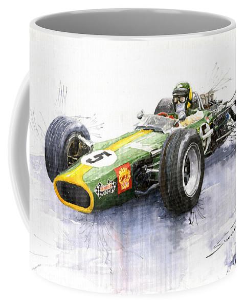 Watercolour Coffee Mug featuring the painting Lotus 49 Ford F1 Jim Clark by Yuriy Shevchuk
