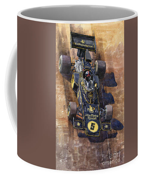 Watercolour Coffee Mug featuring the painting Lotus 72 Canadian Gp 1972 Emerson Fittipaldi by Yuriy Shevchuk