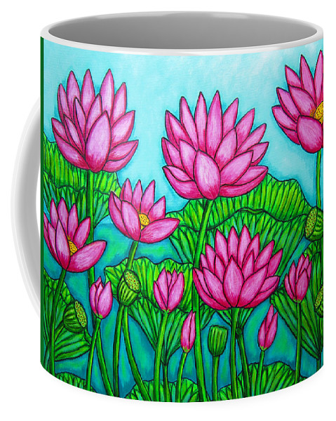 Lotus Coffee Mug featuring the painting Lotus Bliss II by Lisa Lorenz
