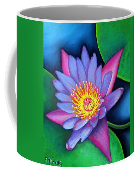 Flower Coffee Mug featuring the painting Lotus Divine by Minaz Jantz