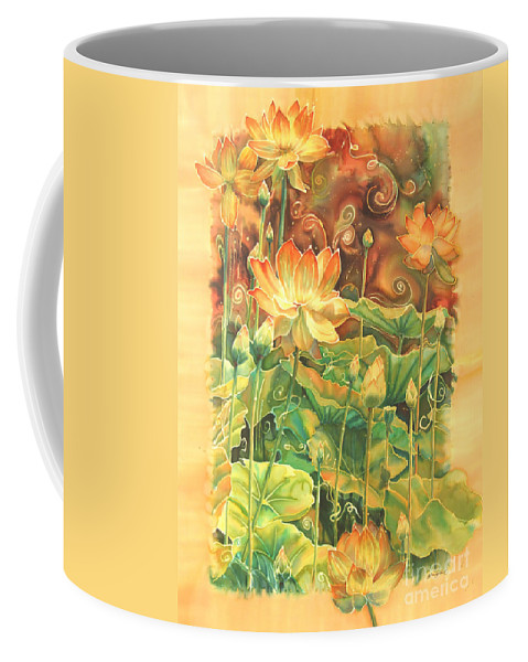 Flower Coffee Mug featuring the painting Lotus Field by Deborah Younglao
