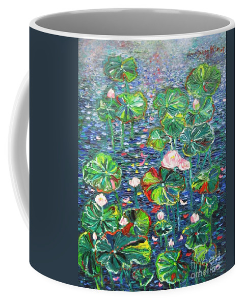 Water Lily Paintings Coffee Mug featuring the painting Lotus Flower Water Lily Lily Pads Painting by Seon-Jeong Kim