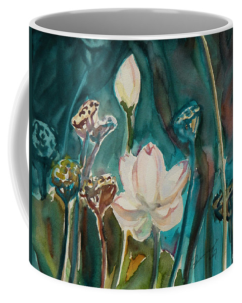 Watercolor Coffee Mug featuring the painting Lotus Study I by Xueling Zou