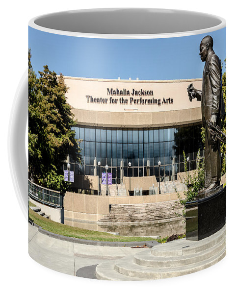 Louis Armstrong Coffee Mug featuring the photograph Louis Armstrong Bronze - Mahalla Jackson Theater - New Orleans by Debra Martz