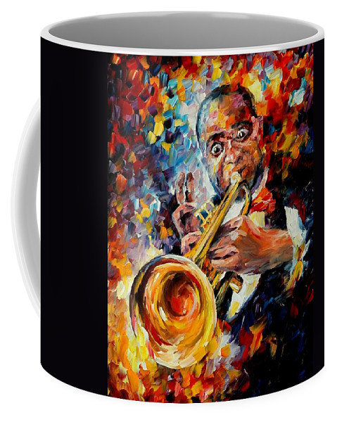 Music Coffee Mug featuring the painting Louis Armstrong by Leonid Afremov