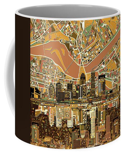Louisville Coffee Mug featuring the digital art Louisville Kentucky Skyline Abstract 2 by Bekim Art