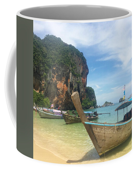 Thailand Coffee Mug featuring the photograph Lounging Longboats by Ell Wills