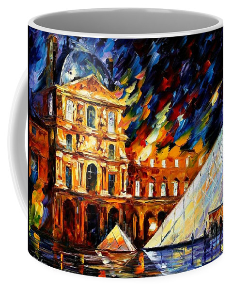 Afremov Coffee Mug featuring the painting Louvre Museum by Leonid Afremov