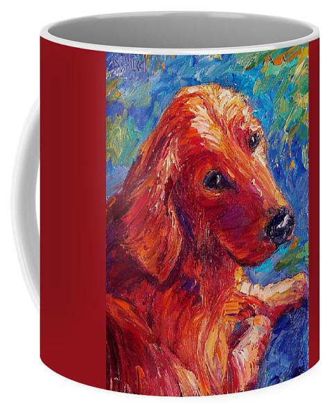 Dog Coffee Mug featuring the painting Lovable by Debra Hurd
