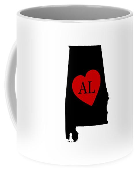 Alabama Coffee Mug featuring the digital art Love Alabama Black by Custom Home Fashions
