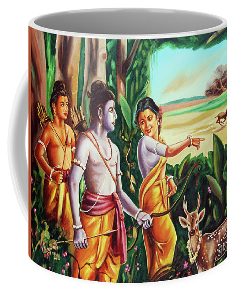 History- Ramayana Coffee Mug featuring the painting Love And Valour- Ramayana- The Divine Saga by Ragunath Venkatraman
