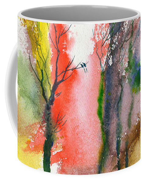 Landscape Coffee Mug featuring the painting Love Birds 2 by Anil Nene