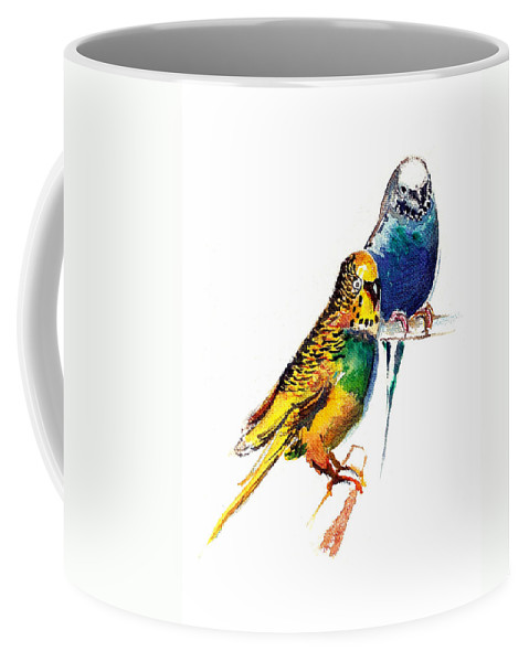 Nature Coffee Mug featuring the painting Love Birds by Anil Nene