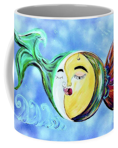 Contemporary Coffee Mug featuring the painting Love Connect - You Are My Moon And Sun by Eloise Schneider
