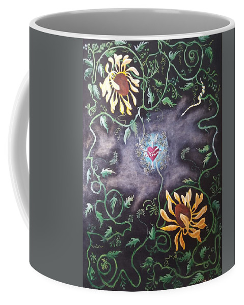 Flower Coffee Mug featuring the painting Love Demise by Ron Tango Jr