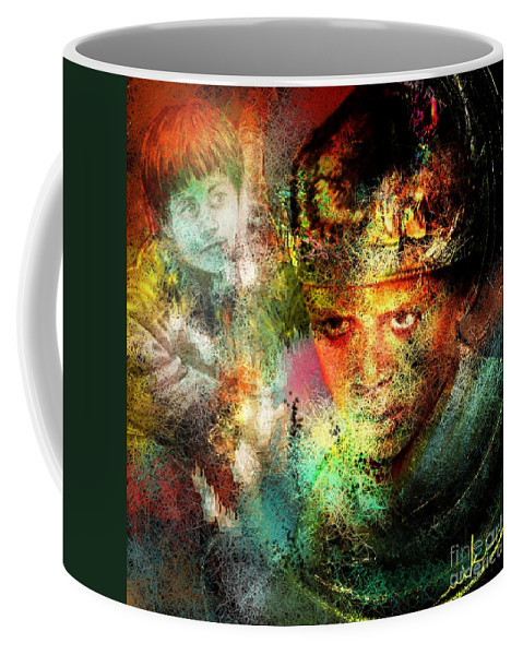 Portrait Coffee Mug featuring the painting Love For The Boy King by Miki De Goodaboom
