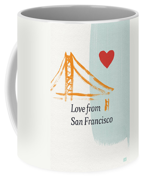 Love Coffee Mug featuring the painting Love From San Francisco- Art By Linda Woods by Linda Woods