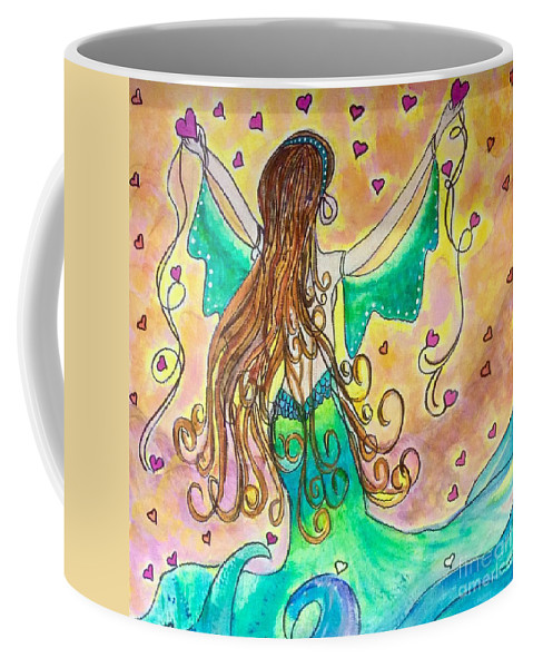 Sending Love Out To The World Coffee Mug featuring the mixed media Love From The Sea by Virginia Perry