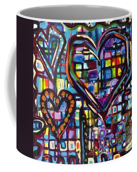 Love Coffee Mug featuring the painting Love Hearts by Catherine Gruetzke-Blais