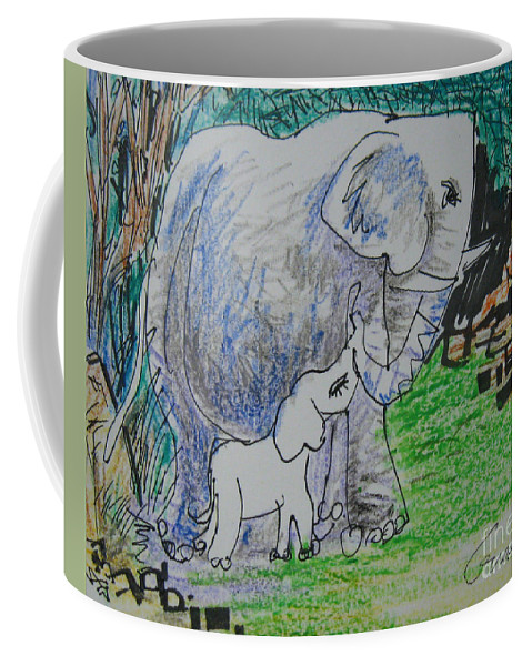 Elephant Coffee Mug featuring the drawing Love I by Guanyu Shi
