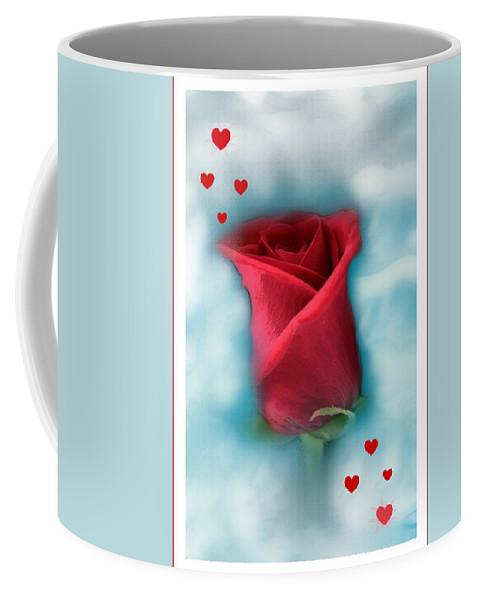 Rose Art Coffee Mug featuring the photograph Love Is In The Air by Linda Sannuti