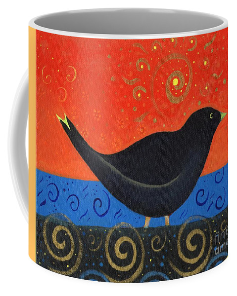 Black Bird Coffee Mug featuring the painting Love Of Birds by Helena Tiainen