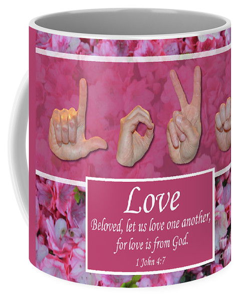 Christian Coffee Mug featuring the photograph Love One Another by Master's Hand Collection