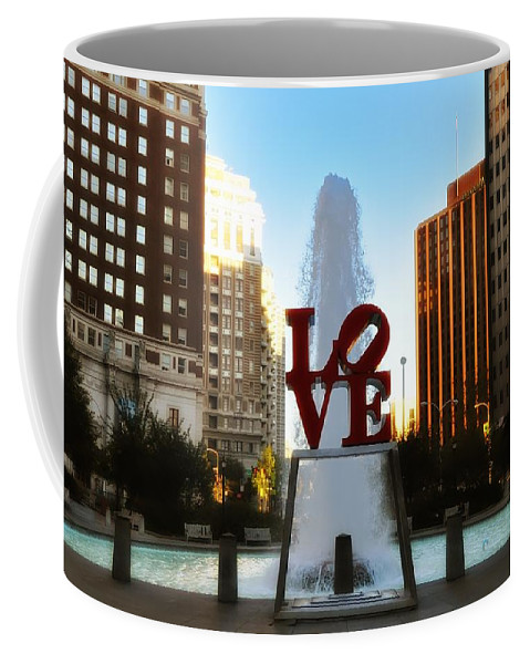 Love Coffee Mug featuring the photograph Love Park - Love Conquers All by Bill Cannon
