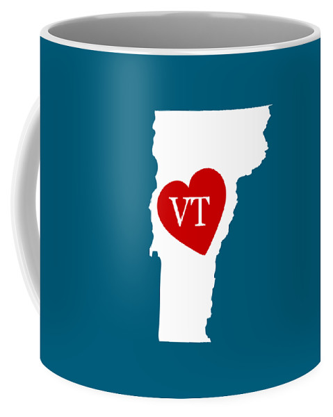 Vermont Coffee Mug featuring the digital art Love Vermont White by Custom Home Fashions