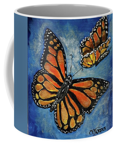 Monarch Butterflies Coffee Mug featuring the painting Lovely Couple by Melissa Torres