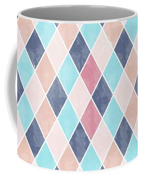 Watercolor Coffee Mug featuring the drawing Lovely Geometric Pattern Vi by Amir Faysal